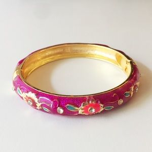 Vintage Enamel Geometric Floral Cloisonne Bracelet